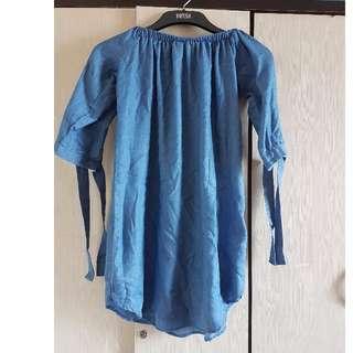 Denim off shoulder dress