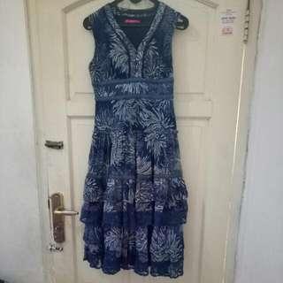 Dress Bahan Shifon Biru Dongker