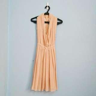 [Repriced] Peach Pleaded Halter V-neck Dress