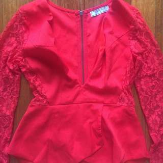 Deep V Neck Red Crepe And Lace Top Size 10