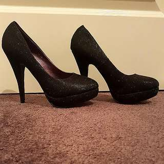 Brand New Size 8 Black Sparkly Shiny High Heels