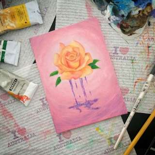 Hand Painted Acrylic Rose Painting