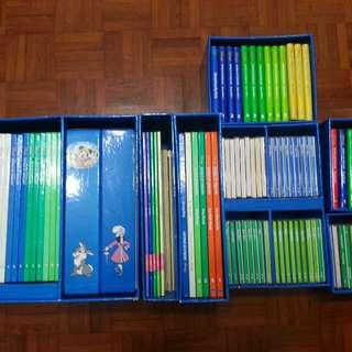 迪士尼 美語世界 全套CDs + VCDs + 教學書 + 互動遊戲 85% new Disney World of English 跟讀卡機及卡片500張(不包含點讀筆)