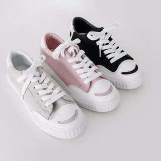 正韓 暖色調 圓頭 新款 帆布鞋/平底鞋/休閒鞋/運動鞋 KR060319 POCKET@PCK
