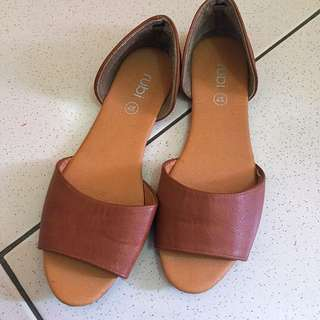 RUBI Brown Open-Toe Flats