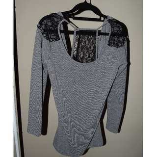 Lace Back Long Sleeved Top