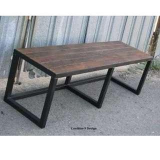 meja dan bangku kayu besi industrial bisa custom ukuran