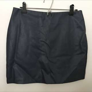 Dark Navy Leather Skirt