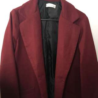Wine Red Mid Length Coat