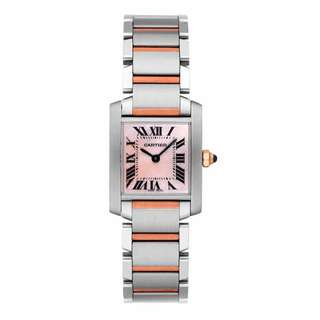 Cartier Tank Watch Francaise 18kt Gold and Steel Pink Mother Of Pearl