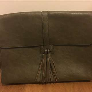Olive Green Leather Bag With Longer Straps