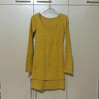 (銅板時尚)薑黃色厚棉長版上衣