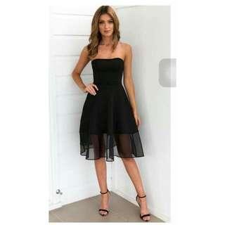 Black See Through Detailed Tube Dress