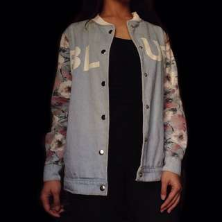 Denim Jacket w/ Floral Designs