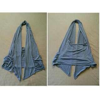 (銅板時尚)大地灰圍巾式背心