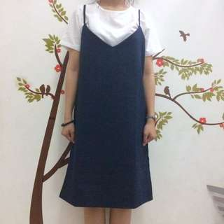 Marina White Navy Short Dress