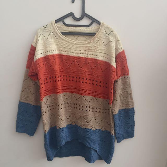 3 color sweater rajut