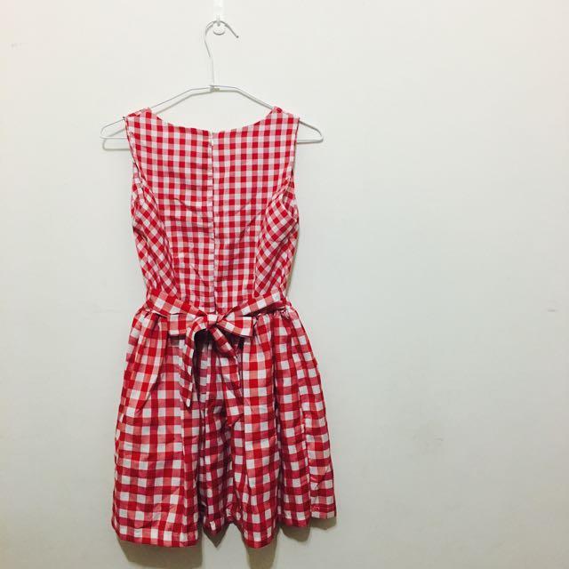 紅色格紋文青綁帶洋裝