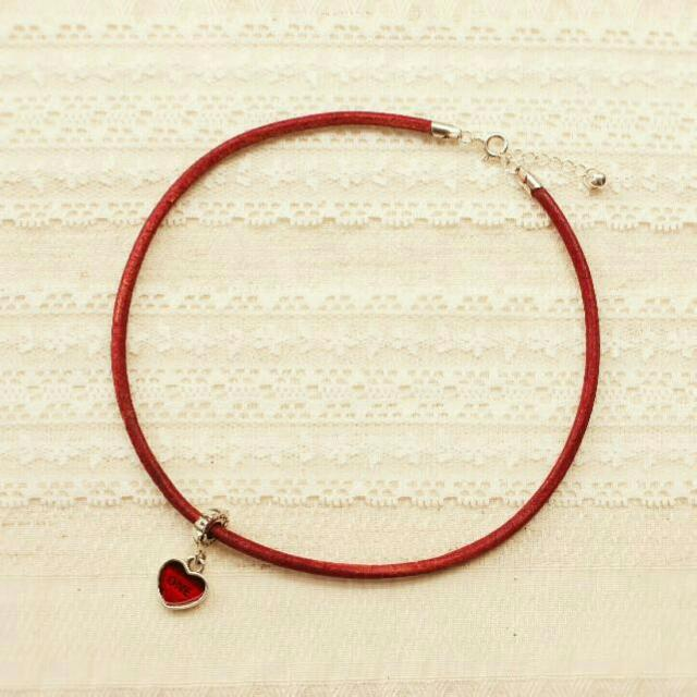 日系正紅愛心手工紅繩項圈頸鏈
