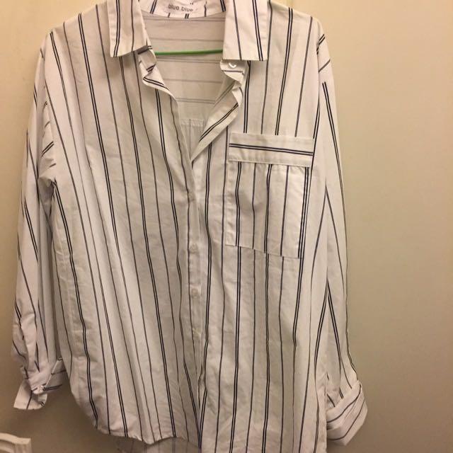 韓系藍白條紋襯衫