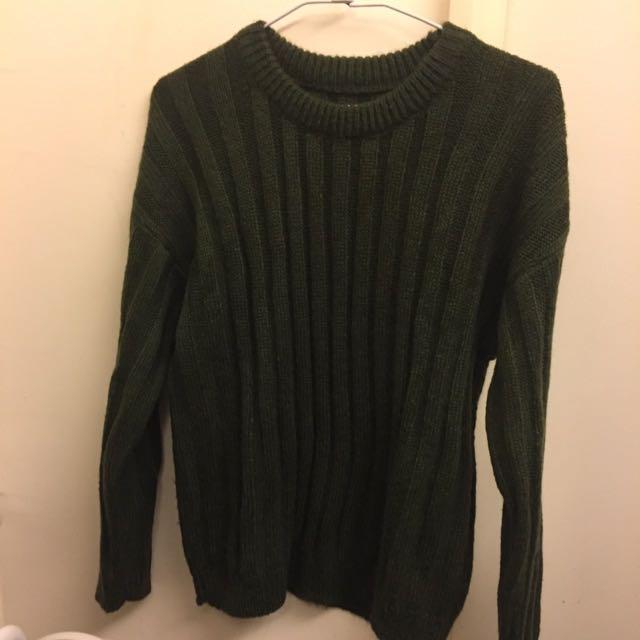韓系綠色針織毛衣
