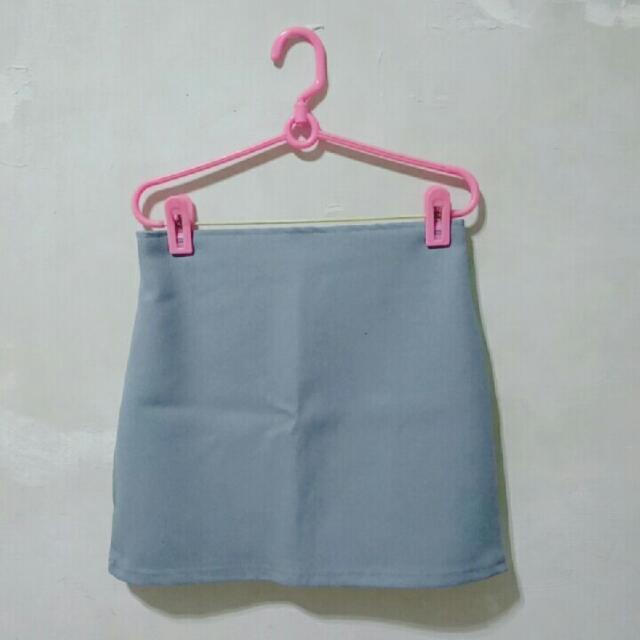 #兩百元短褲 正韓 水藍簡約拉鏈鬆緊短/窄裙