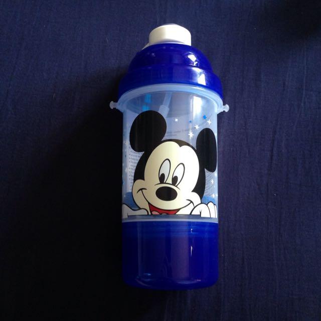 含運 香港 迪士尼 深藍透明 米奇 米老鼠 按壓彈蓋 吸管 背帶 水壺 400ml