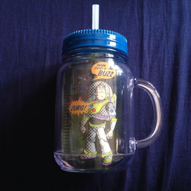 含運 香港 迪士尼 玩具總動員 巴斯 三眼怪 外星人 塑膠 含蓋 吸管 水杯