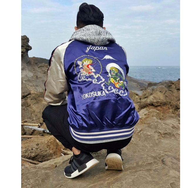 特價-日本帶回 風神 雷神 風雷神 黑銀 橫須賀 黑色 酒紅 藍紫色 刺繡 外套  橫須賀刺繡外套