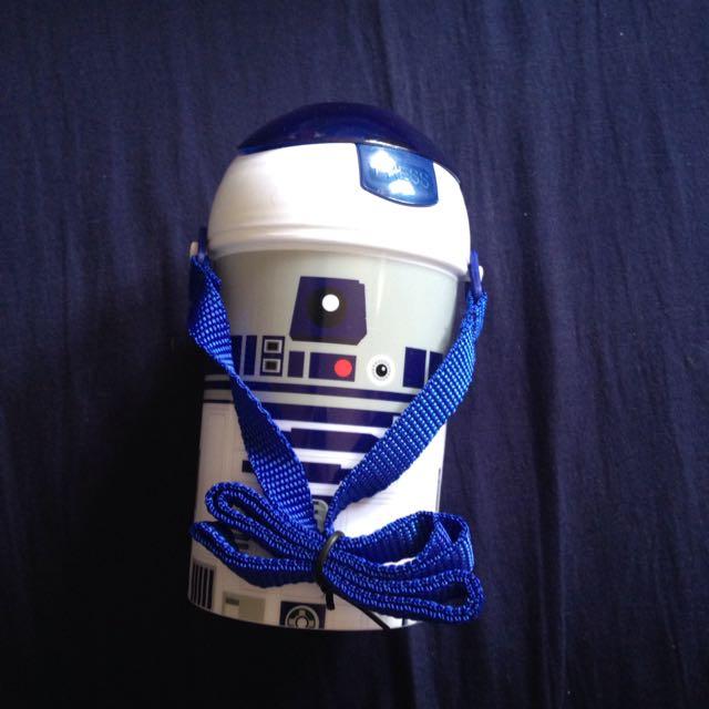 含運 香港 迪士尼 星際大戰 Star Wars R2D2 按壓式 背帶 吸管 水壺 450ml