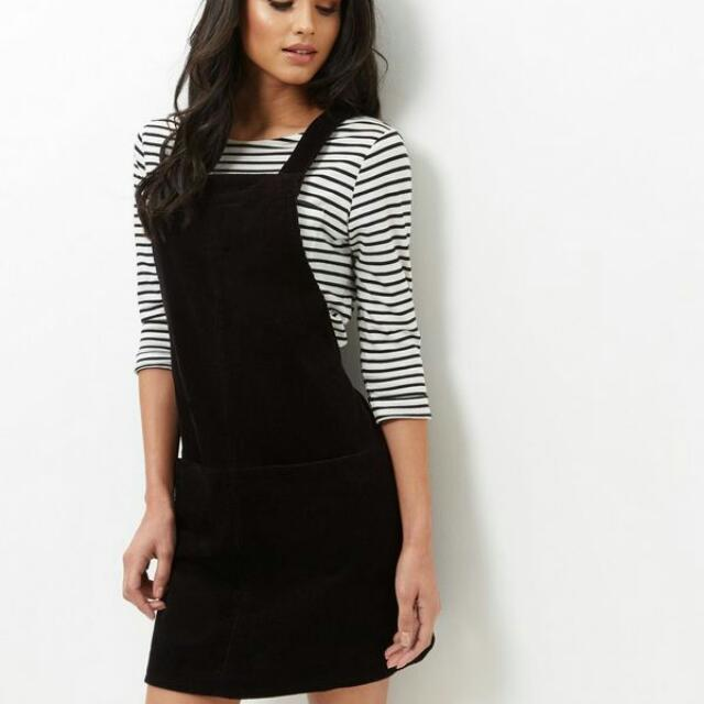 Black Pinafore Dress Womens Fashion Clothes Dresses Skirts