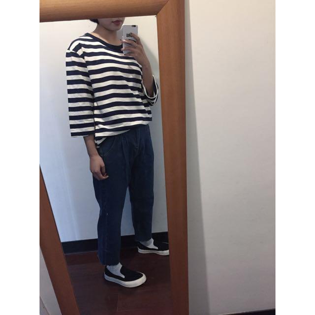 牛仔單寧色寬褲 Made In Korea