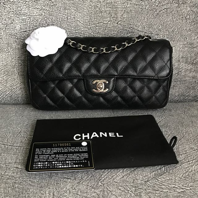 1b5b71d4cd70cf Almost New Chanel East West Classic Flap Black Caviar SHW, Luxury, Bags &  Wallets on Carousell