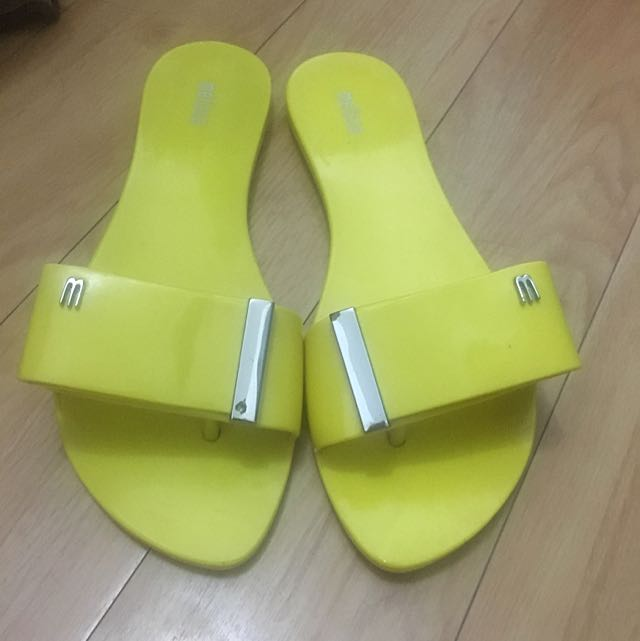 Authentic Melissa Yellow Slides/ Slippers
