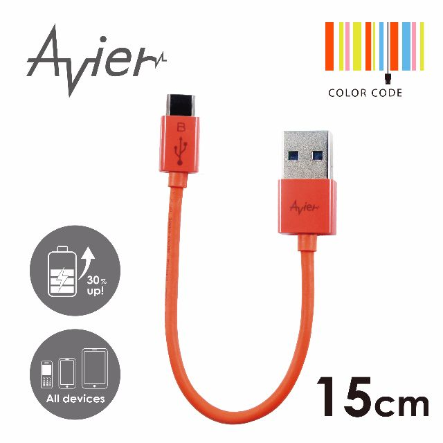 【Avier】超薄炫彩Micro USB 2.0充電/傳輸線。15cm北卡藍/MU2015O