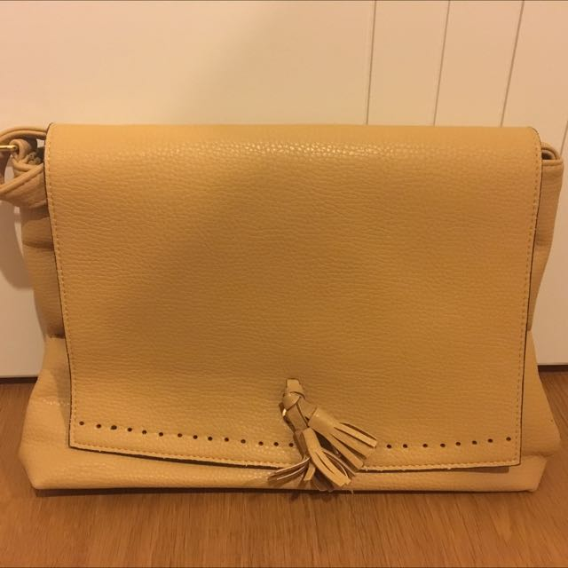 Beige Handbag/Clutch With Long Straps