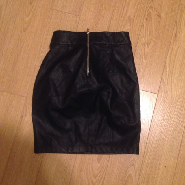 Black Faux Leather Skirt (small)