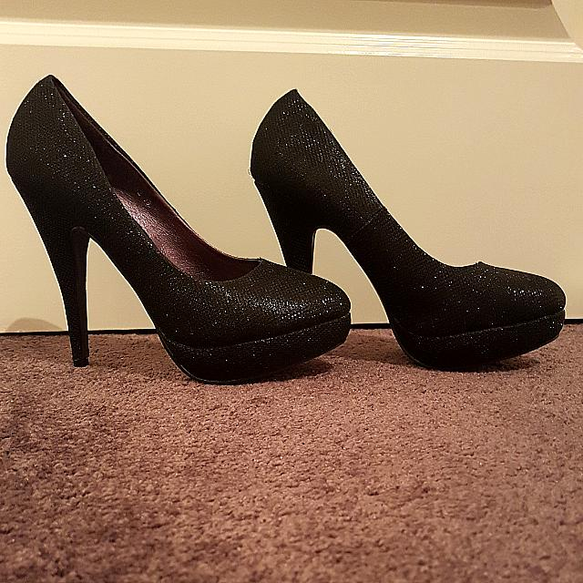 Brand New Size 8 Black Sparkly Shiny High Heels