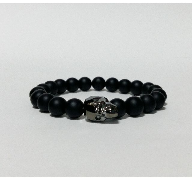 dc0e103e33c9 Black Onyx Swarovski Skull Bracelet