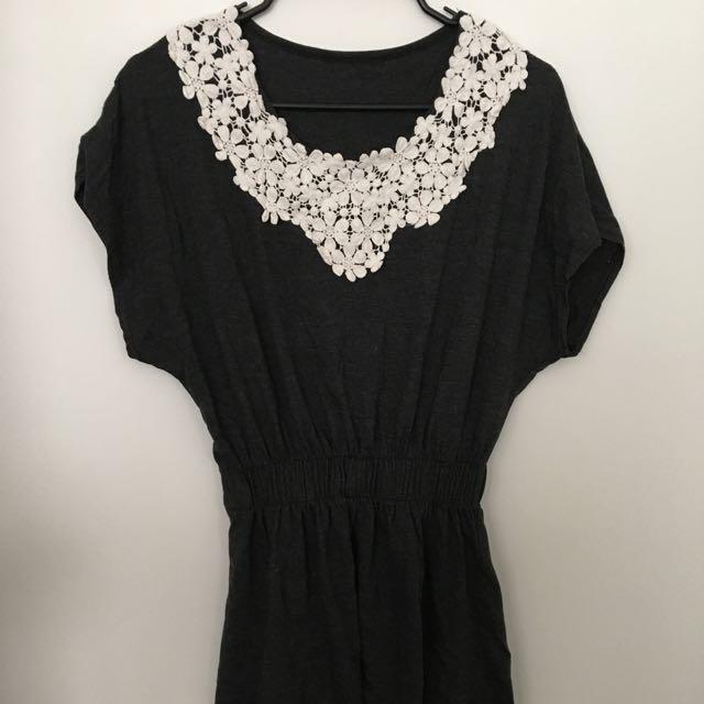 Black/White Floral Print Dress