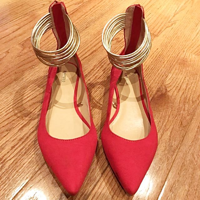 BRAND NEW EXPRESS ANKLE FLATS RED/GOLD