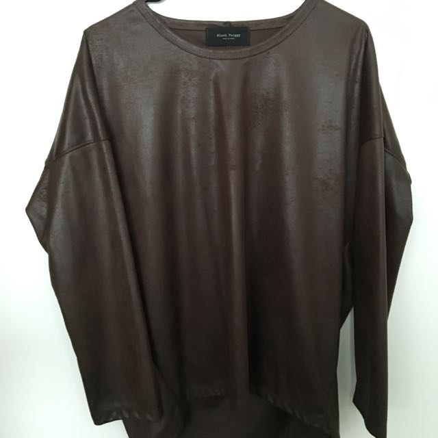 Brown Leather Mesh Top