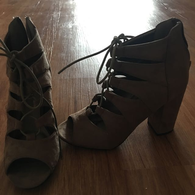 Brown Suede Lace Up Shoes Size 6