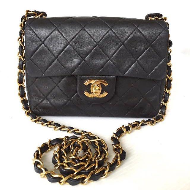 Chanel Vintage Mini Black Lambskin