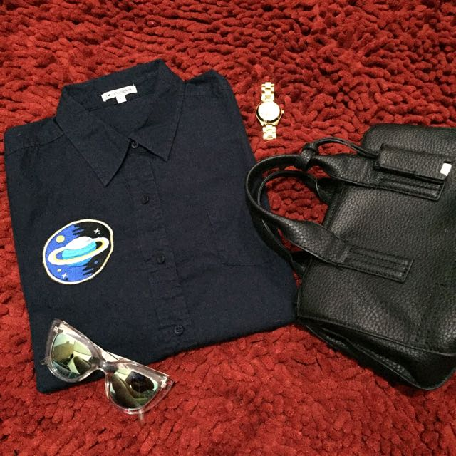Colorbox Dark Blue Patch Shirt