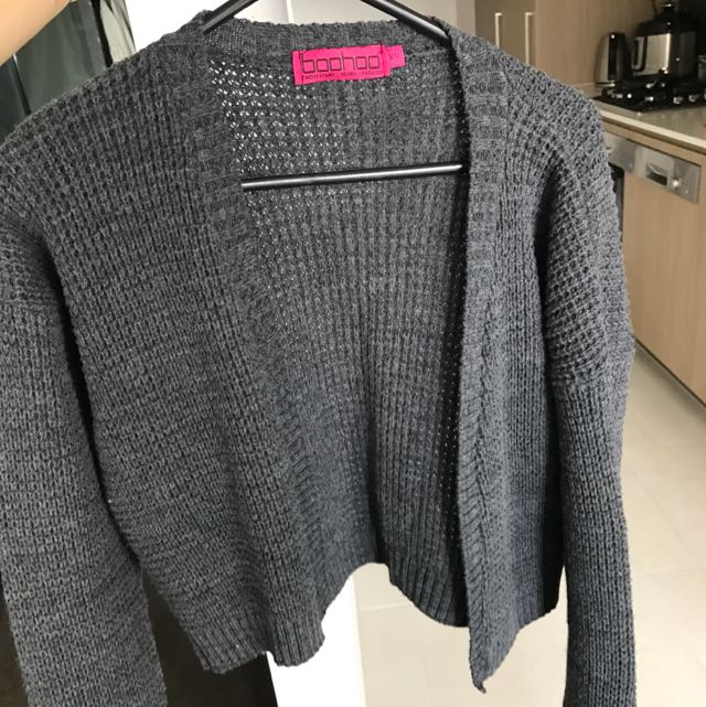 Cropped Grey Knit Cardigan