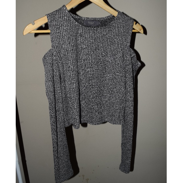 Cut Shoulder Long Sleeved Top
