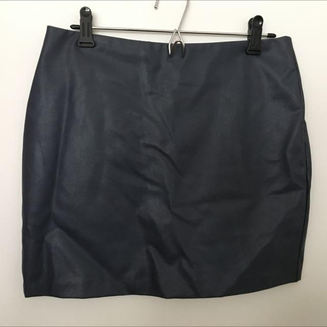 Dark Navy Leather Skirt