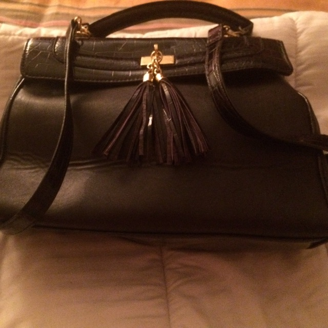 Dark Purple Croc Ladies cross body Vintage Handbag with strap, As New Condition