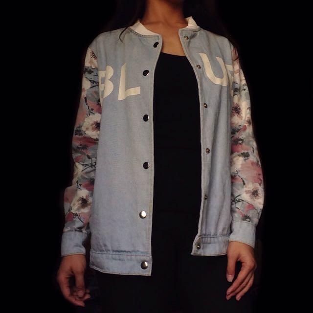 Denim Jacket w/ Floral Designs